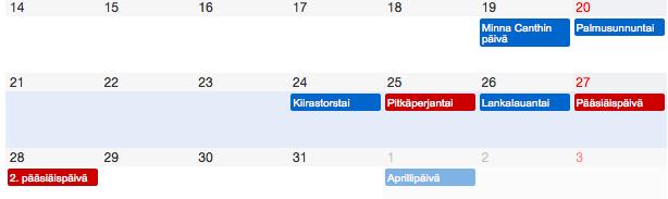 Pääsiäinen 2016 kalenterissa